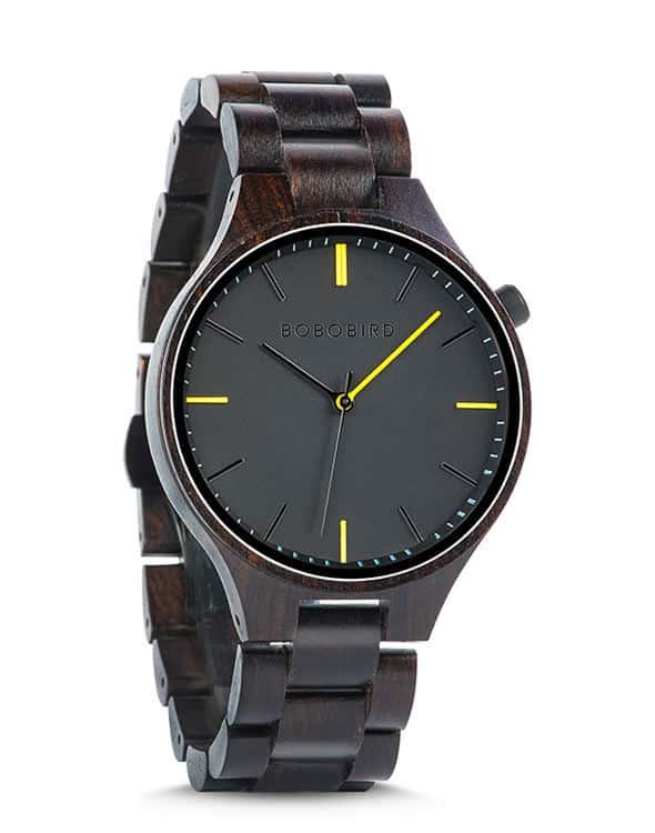 all-black wooden watch