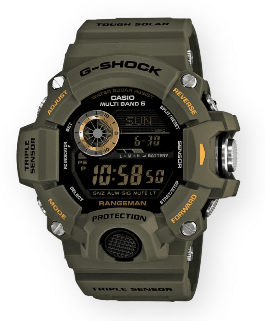 military-green rugged g-shock watch