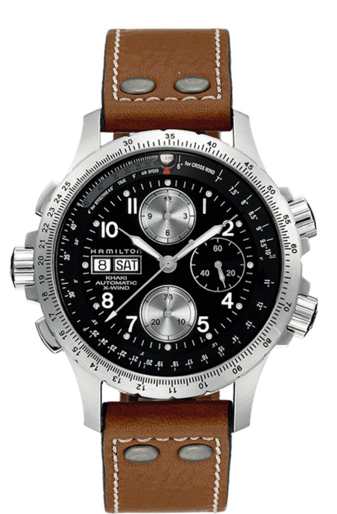 posh Hamilton military watch with black dial and steel case