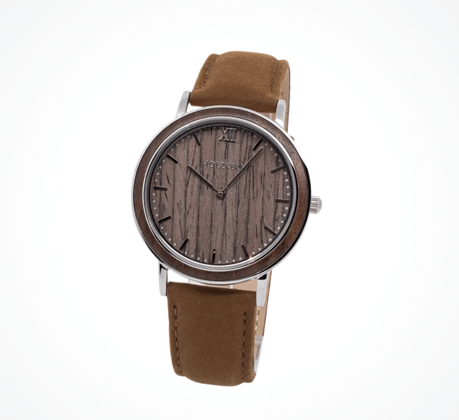 brown dial with brown leather strap