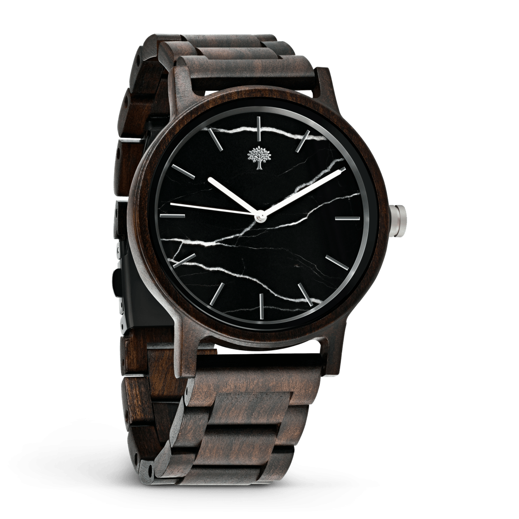 wooden hand watch with a black dial
