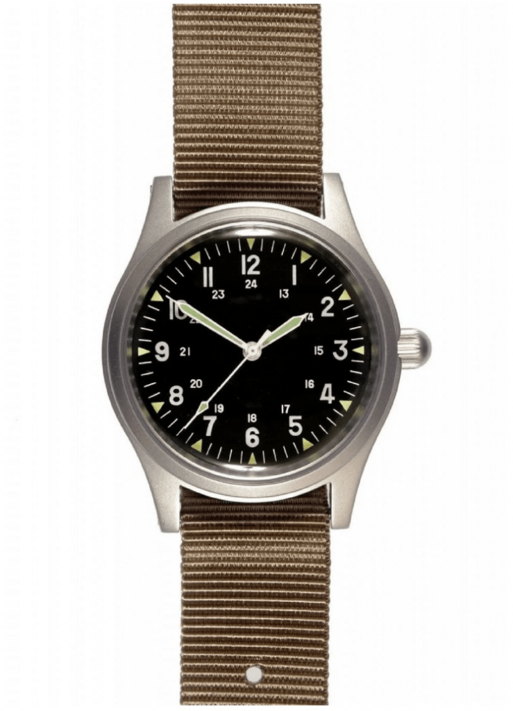 MWC army watch with black dial and steel case