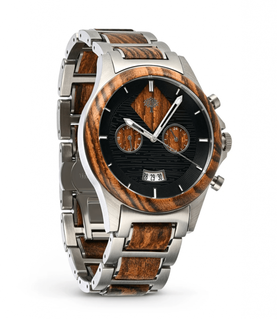 metal and wood watch