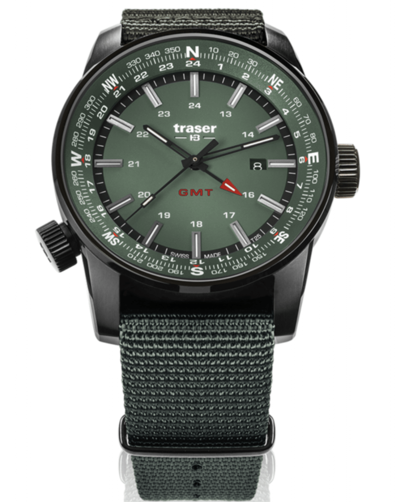 military-green ops watch with rich dial