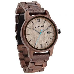 brown wood watch with blue hand