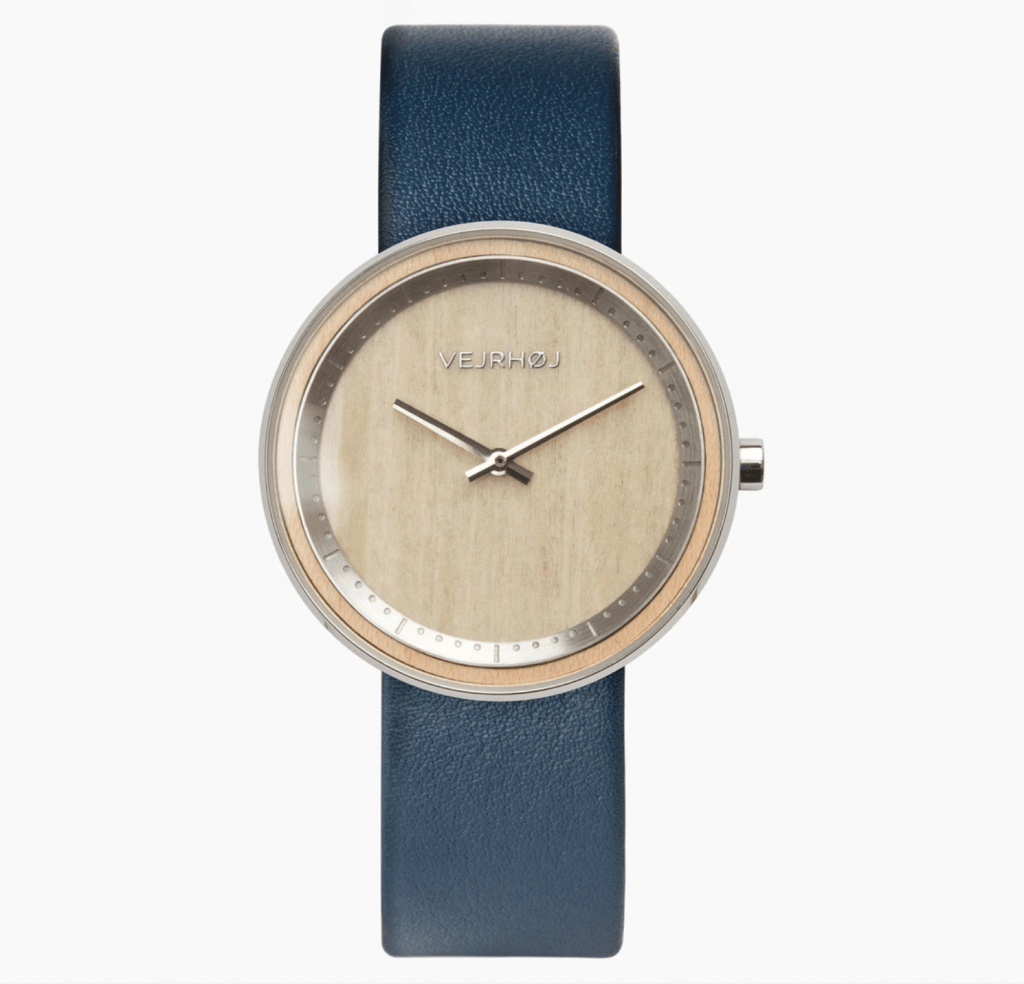 vejrhoy watch with a beige dial and blue leather strap
