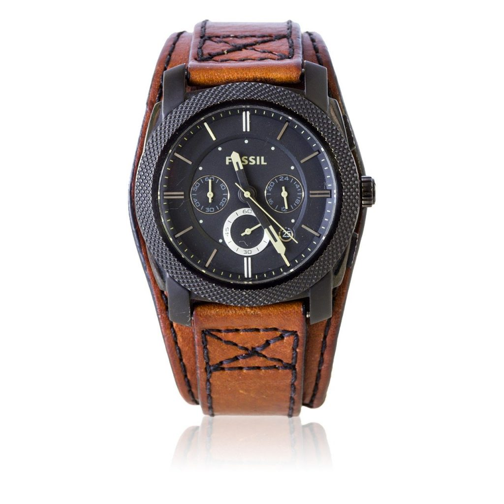 black fossil chronograph watch with brown leather strap