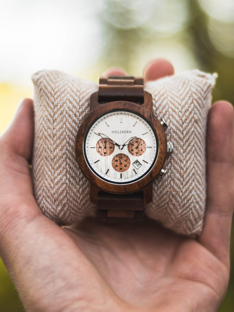 Brown Holzkern wooden watch with white dial