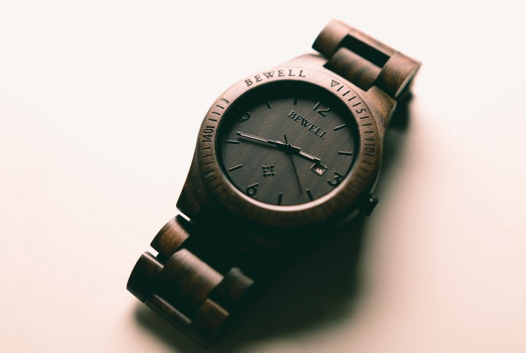 brown wood watch