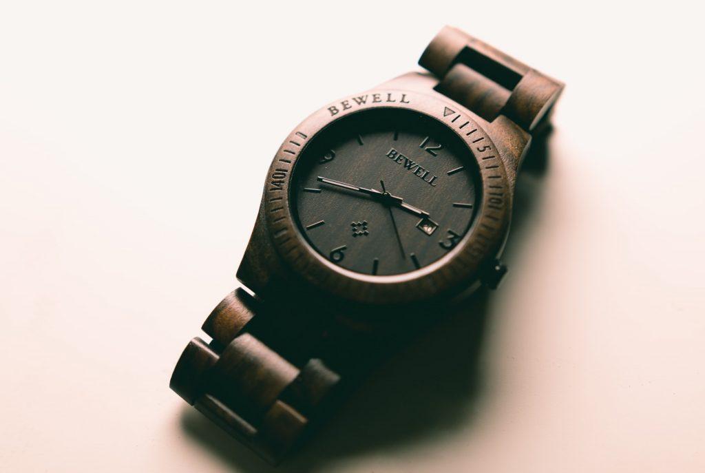 brown wood watch