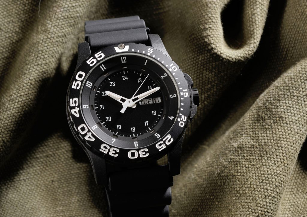 black rough military watch with easily readable dial