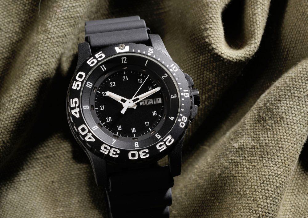 black rough military watch