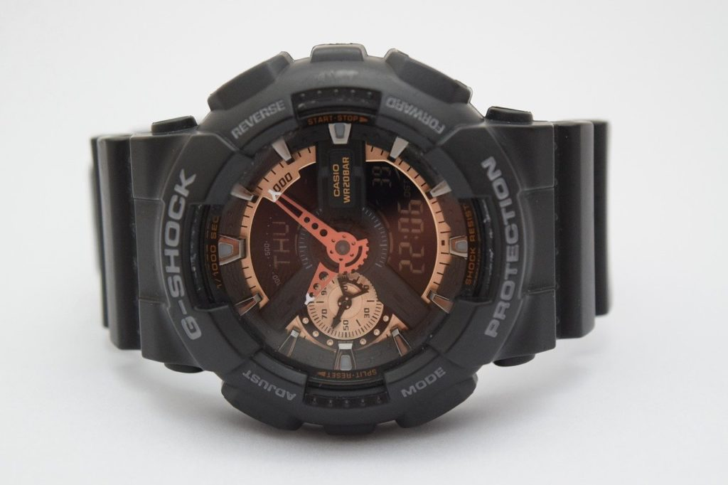 g-shock watch with black resin strap