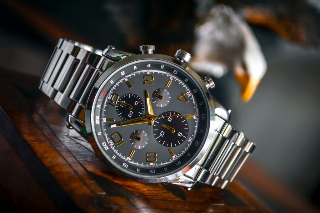 luxurious dark-faced chronograph watch