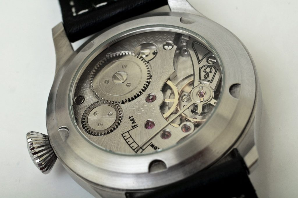 automatic self winding watch open from behind