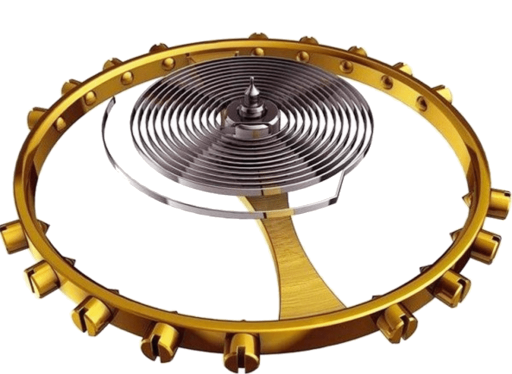 golden balance wheel with a spring in the center