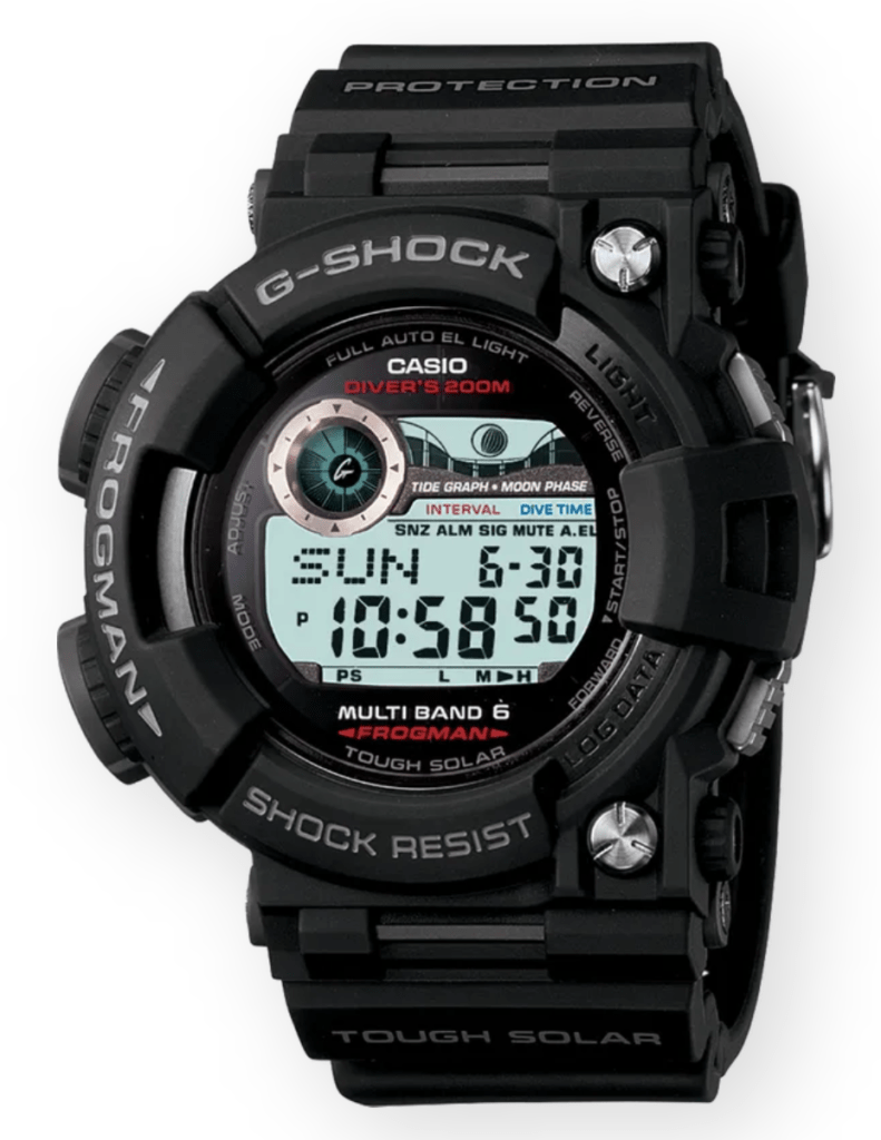 rugged black digital watch suitable for military diving