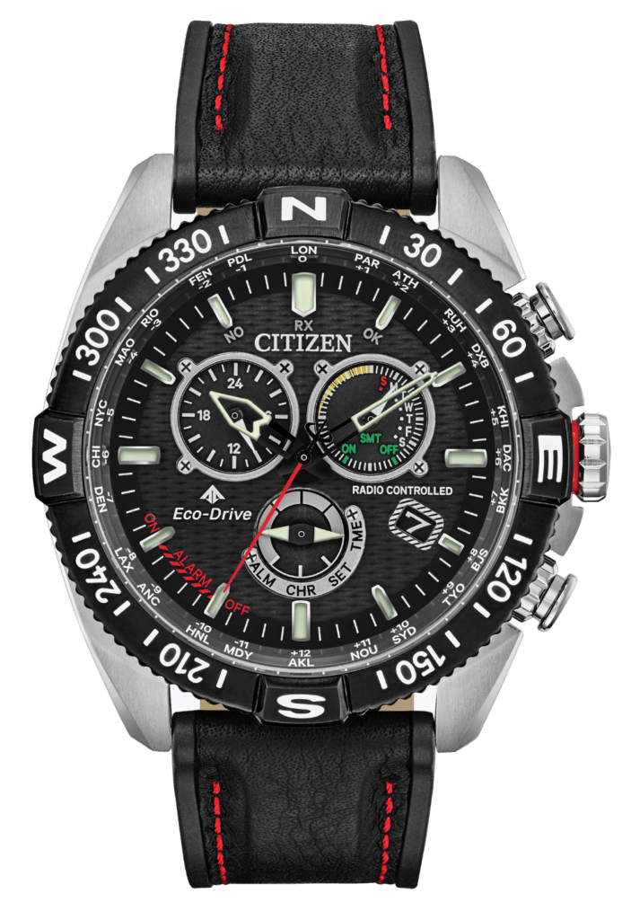 black solar watch with rich dial