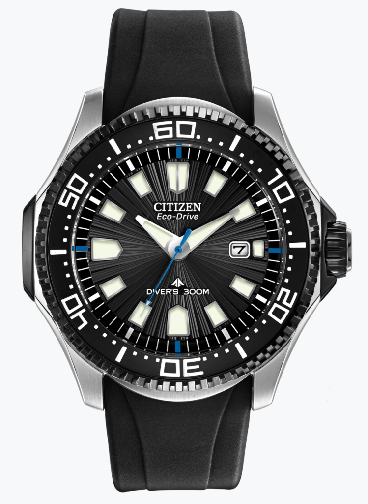 all-black diver's watch with silicon straps