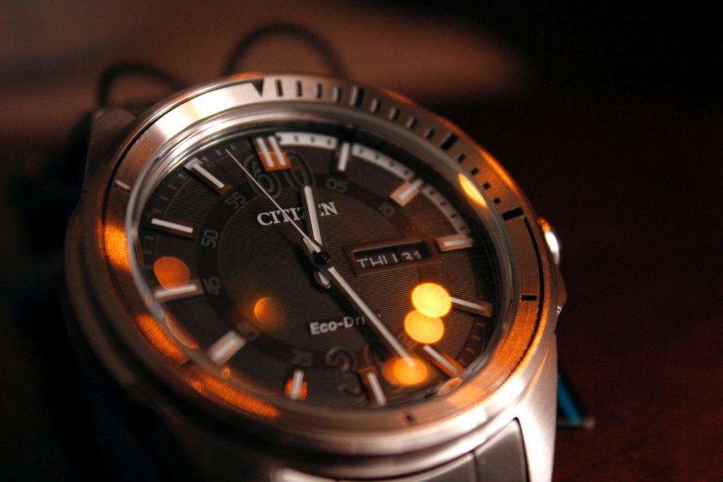 Citizen solar watch with dark dial