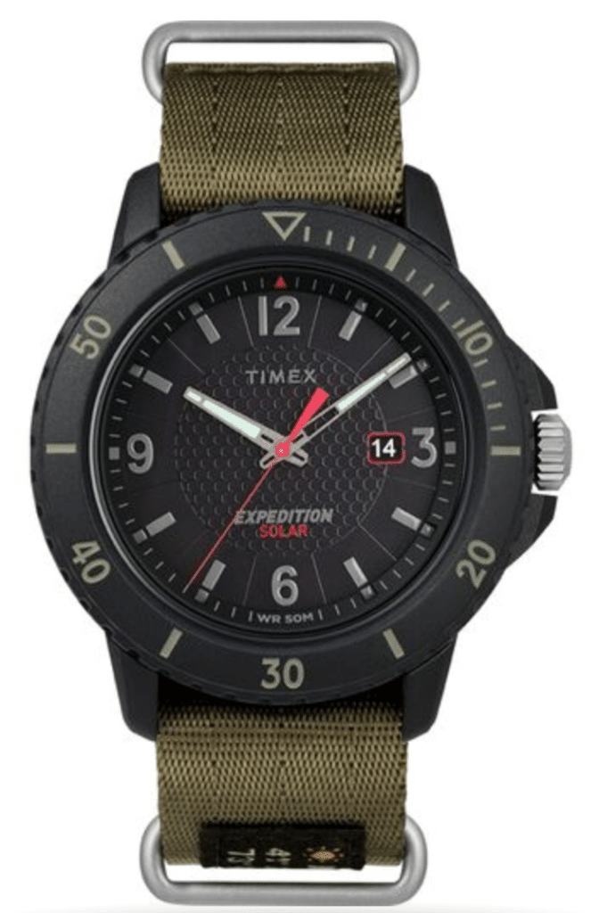 Timex military timepiece with army-green straps and analog dial
