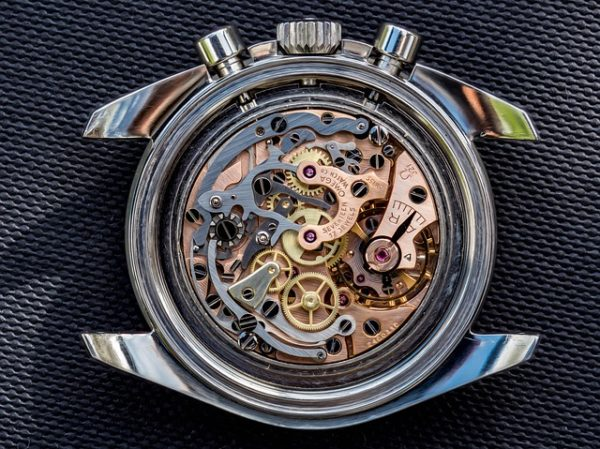 manual winding movement with gears visible