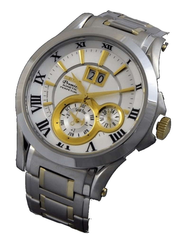 Stainless steel timepiece with golden hands