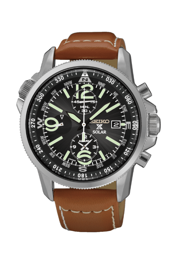 Seiko solar military watch with black dial and brown leather strap