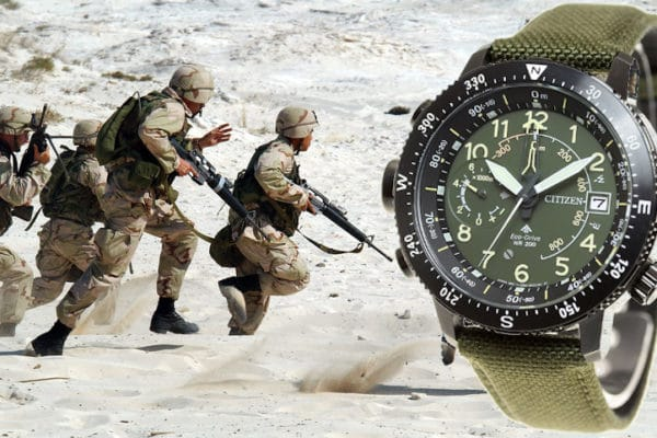 solar military watch with soldiers in action