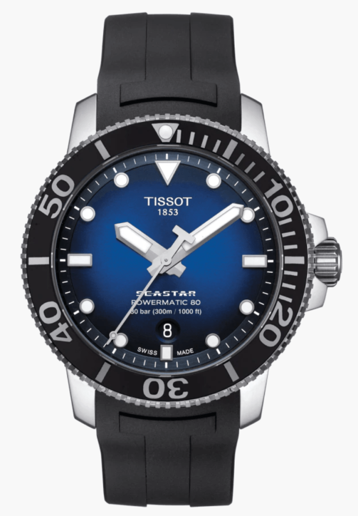 Tissot diver's watch with blue dial and black straps
