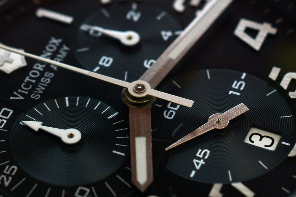 Chronograph movement close-up with additional dials present