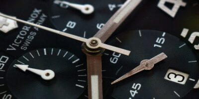 Chronograph function movement close-up with additional dials present