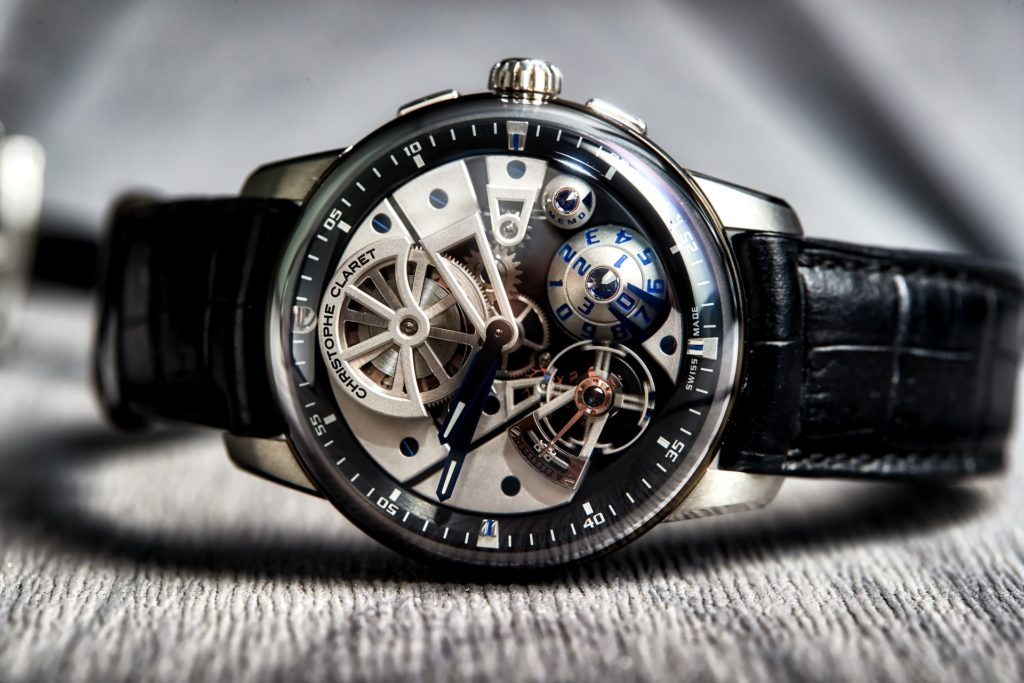 fancy skeleton automatic watch with gears visible