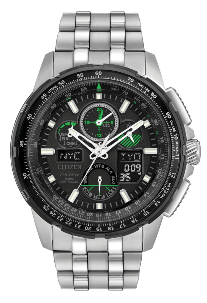 metal watch with black dial