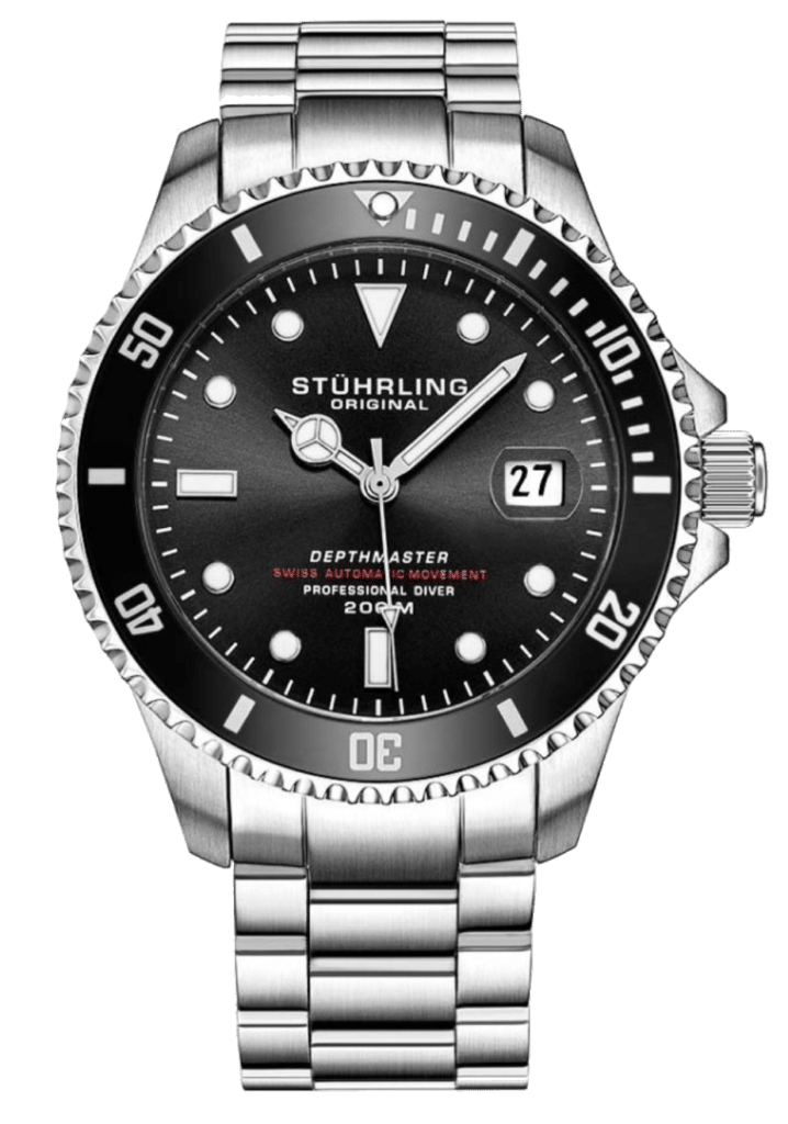 metal dive watch with black dial
