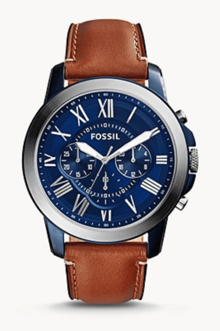 blue-faced Fossil chronograph watch