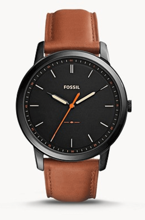 black-dialled watch with brown leather straps