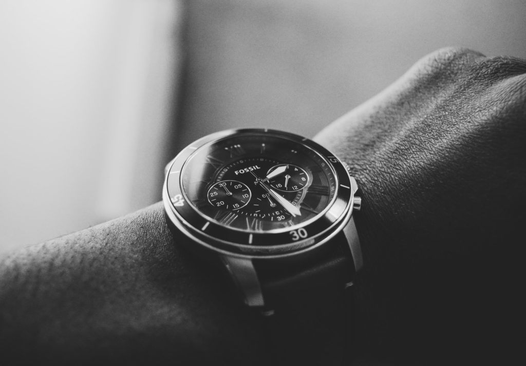 Fossil chronograph on a wrist