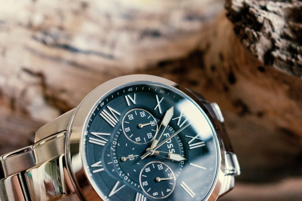 Chinese-made Fossil watch with dark blue face