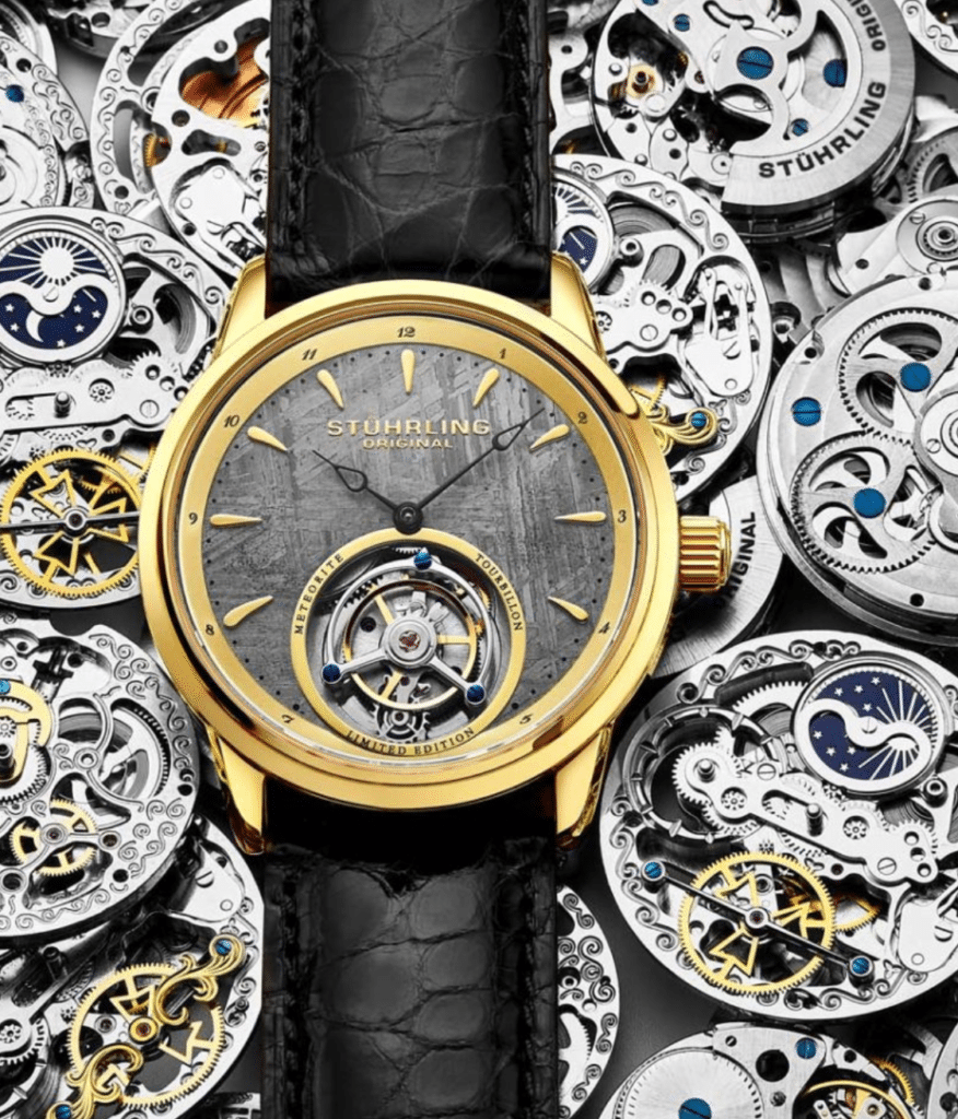 luxurious Stuhrling watch with a tourbillon on the dial