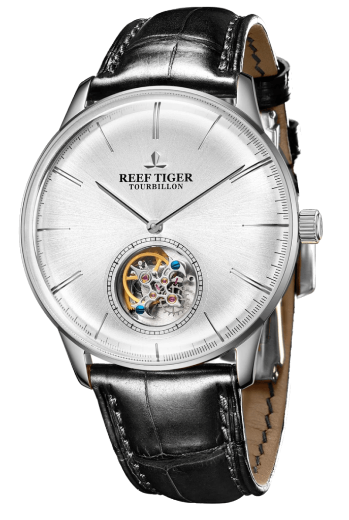 Affordable tourbillon watch with white dial and round-shaped cut