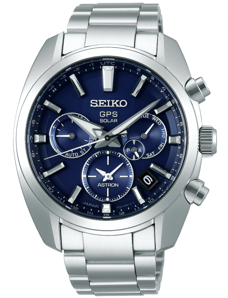 solar atomic watch with blue dial and metal band