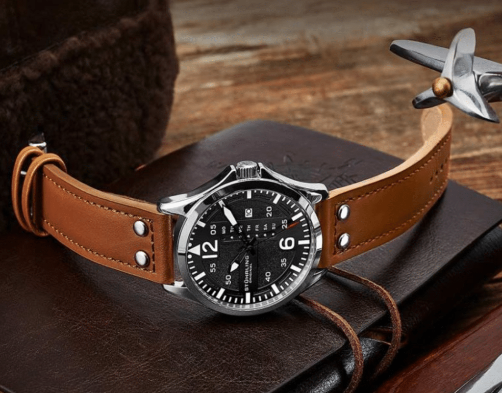aviator watch with a unique dial and brown leather straps