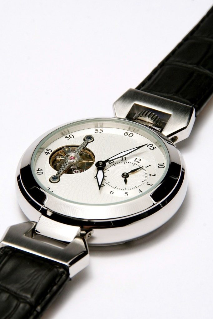 wristwatch with round tourbillon on the dial