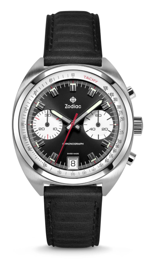 metal watch with two white sub-dials