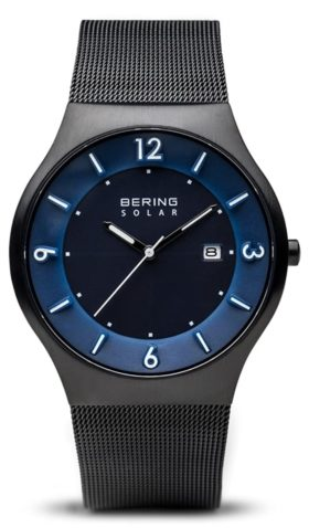 A solar Bering timepiece with blue dial