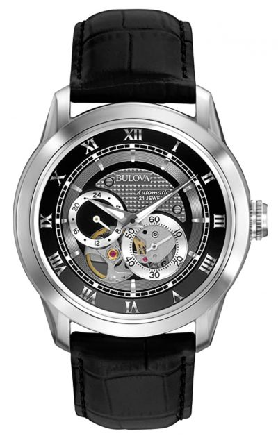 Bulova skeleton automatic watch with grayscale tint