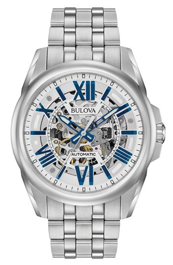 Silver and blue colored skeleton piece from Bulova