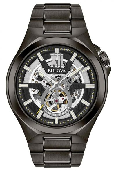 Automatic skeleton timepiece with gray gunmetal finish