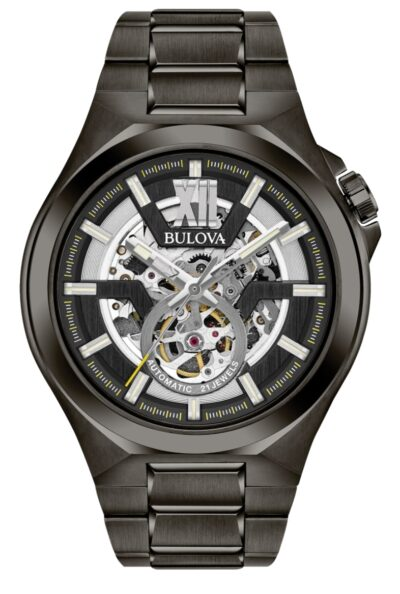 A Bulova watch with a see-through skeletonized dial